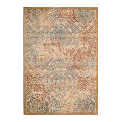 """Nourison - Nourison Graphic Illusions GIL09 2'3"""" x 3'9"""" Light Gold Area Rug 13263 - Expert hand carving and high-low loop pile construction give this area rug extraordinary touch appeal. Sublime shading in subtle gradations of grey, blue, brown, ivory and light gold impart a damask design with an intriguing air that will lend an exotic allure to any setting."""