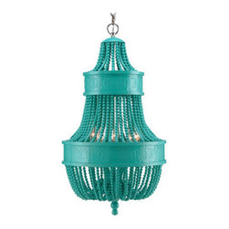 Catalonia Chandelier, Turquoise - This chandelier is both edgy and elegant. The high-gloss finish is eye-catching, and the turquoise lacquer reminds me of the ocean.