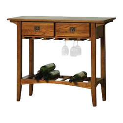 Leick Furniture - Leick Furniture Mission Wine Table with Storage Drawers in Russet - Leick Furniture - Wine Racks - 9061RS - A compact wine table that packs a lot of function with a classic mission style. A quality piece of furniture with a solid wood table top and frame and a hand applied multi-step russet finish that enhances the beautiful wood grain. There is a place for everything solid wood drawers for wine opener and accessories hanging rails for glasses and a slated wine shelf to store your wine. A wine table that fits anywhere and does everything what more can you ask for?