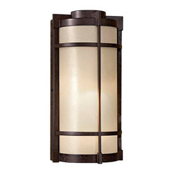 "Minka Lavery - Asian Mirador 14 3/4"" High Bronze Outdoor Wall Light - An energy efficient outdoor fixture from Minka-Lavery's Mirador lighting collection. It boasts a textured French Bronze finish accented by Pearl Mist glass. Includes one energy efficient 13 watt fluorescent bulb. Textured French Bronze finish. Pearl mist glass. Includes one 13 watt fluorescent bulb. 14 3/4"" high. 7 1/2"" wide. Extends 4 3/4"".  Textured French Bronze finish.  Pearl mist glass.  California Title 24 compliant.  Includes one 13 watt fluorescent bulb.  14 3/4"" high.  7 1/2"" wide.  Extends 4 3/4""."
