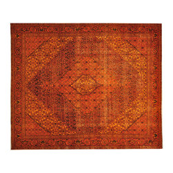 1800GetARug - Some Wear Persian Birjand Overdyed Orange Cast Hand Knotted Rug Sh17786 - The Overdyed and Patchwork hand knotted rug, represents one of the hottest trends in the industry today. Each Overdyed rug is stripped of its original colors, then dyed again in vibrant hues, to create unique and one-of-a-kind pieces. The Patchwork rug is handcrafted out of salvaged, vintage carpets, with a variety of colors combining to form a wholly unique and textured design.