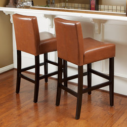 Christopher Knight Home - Christopher Knight Home Lopez Hazelnut Leather Counterstools (Set of 2) - Bring simple,sleek elegance to your kitchen with these comfortable light brown leather counter stools. The hazelnut color of the leather complements the dark stain of the hardwood legs. These armless stools stand at 37.73 inches high.