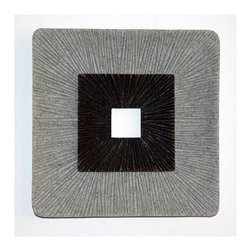 """2 ENCLAVE SQUARE WALL ART, RIBBED FINISH 14"""" X 2"""" - The Sandstone Square Design Wall Art - Set of 2 brings a relaxing accent to any wall or as a table top in your home. You don't need an extensive art history background to appreciate the simple spiral Modern and Contemporary design on this round wall art. Made from fine-polished sandstone, the set of two wall decor pieces is available in three different sizes to suit your space requirements. Small: 14-inch . Medium: 19-inch . Large: 26-inch each side"""