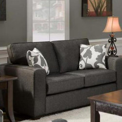 "Chelsea Home - 65 in. Bergen Loveseat - Includes two throw pillows. Contemporary style. Loveseat upholstered in Talbot onyx. Pillows in Marcie onyx cover. Seating comfort: Medium. Hardwood frames nailed together for strength and durability. 1.8 density foam in cushions. Dacron wrapped and fully reversible cushions. Made from 68% polypropylene and 32% polyester. Made in U.S.A. No assembly required. 65 in. L x 37 in. W x 38 in. H (100 lbs.)The motto of Verona VI is ""Where Style Meets Value"". We understand the importance of the distinct, yet separate elements that the consumer as well as the retailer expects from today's manufacturers. It is our purpose driven desire to meet these expectations while forming friendships that will last for generations to come. We would love to have you as a part of our family as we strive to excel in our style, value and service. The stress points are reinforced with blocks to secure long lasting frame."