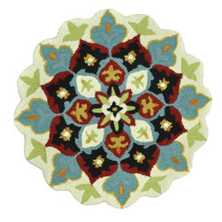 Loloi Rugs - Loloi Rugs Gardenia Ivory-Black Transitional Hand-Tufted Rug X-R003LBVI40AGHDRAG - Like a vase of flowers in full boom, Gardenia adds a little pop of color that brings life to your entire home. Hand-tufted in India of 100% wool, Gardenia comes in lovely, easy-to-place 3 foot round rugs with cute shaped borders - perfect for refreshing the kitchen, entryway, bedroom, bathroom, or just any area in need of a colorful pick-me-up.