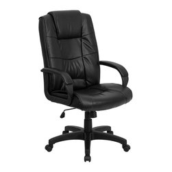 Flash Furniture - Flash Furniture High Back Black Leather Executive Office Chair - This Black Leather Executive Office Chair from Flash Furniture is the premier choice for anyone seeking an attractive, quality office chair at an affordable price. Featuring luxurious black leather upholstery, a spring tilt control mechanism and comfortably padded arms, this leather office chair is sure to please!