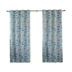 "Best Home Fashion - Blue Cars Room Darkening Grommet Top Curtain - 1 Pair, 84"" L - These fun car printed curtains will instantly liven up your child's room."