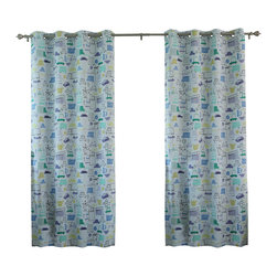 """Best Home Fashion - Blue Cars Room Darkening Grommet Top Curtain - 1 Pair, 84"""" L - These fun car printed curtains will instantly liven up your child's room."""