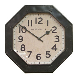 Pendulux - Octagon Clock - Octagon Wall Clock is faithfully reproduced from an original you might see at a roadside Diner. Designed by Steve Kowalski, former Owner of Timeworks Clocks