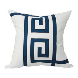 """JoyWorkshoppe - Navy blue & white Greek Key Pillow Cover - Crisp white and blue pillow cover in a classic style will enhance the look of any room whether traditional or contemporary. This pillow cover is meticulously appliqued with 7/8"""" grosgrain ribbon in an original Greek key pattern."""