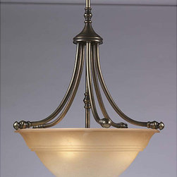 Aztec Lighting - Transitional 3 Light Antique Brass Pendant - Add indoor brilliance to any room in your home with this brass pendant light. Its marble glass shade and antique metal finish create an elegant atmosphere. Three light bulbs mean that this fixture is versatile to your lighting needs.