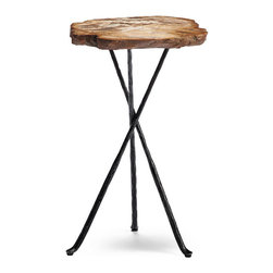 "Frontgate - Large (16-1/2"" dia.) Petrified Wood Tripod Table, Patio Furniture - Each petrified wood table top is so durable that it has been cut with a diamond-tipped saw blade. No two tables will be exactly alike. Wrought iron campaign-style tripod legs. Stain and water resistant, so each one is suitable for outdoor use. Permanent sheen – keep it clean with a periodic application of furniture polish. Crafted from petrified wood – wood turned to stone – each table is a highly durable work of art, and perfect for outdoor use. The rugged, antique look is smooth, offers a hardness equal to that of gemstones, and its golden-bronze palette mimics the dimensional hues of honey and amber. To finish the composition, each slab is mounted upon a wrought iron, campaign-style tripod base.. . . . . Arrives fully assembled. Learn more about Petrified Wood."