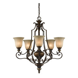 Murray Feiss - Murray Feiss Kelham Hall Traditional Chandelier X-BRB/GF5/3052F - Traditional elements and intricate scrollwork add to the appeal of this Murray Feiss chandelier. From the Kelham Hall Collection, it features five inverted lights housed in beautiful ribbed India scavo glass shades. A blend of British Bronze and Firenze Gold finishes help to pull the look together.