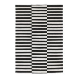Anna Sörensson - Stockholm Rug, Black Stripe | IKEA - This flat, handwoven rug is a perfect basis for any eclectic living room. Accent with a lacquered blue coffee table and pink pillows for a funky feminine look, or dress it down with neutral toned furniture and worn wood accent tables.