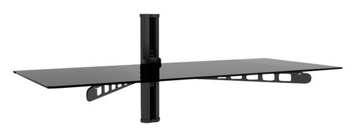 """Sonax - Sonax 35"""" Wide Midnight Black Component Wall Shelf - Sonax - Audio Racks - C803SCM - Add balance and storage with the Sonax C-803-SCM wall mounted component shelf. One double wide shelf can present two components or an array of media directly beneath your wall mounted TV. Easy to mount on a single stud this mount can that tuck wires discreetly into the spine of the mount. Display your high value components safely up and out of the way to free up floor space in your home. Features:"""