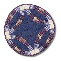 Patch Magic - Blue Double Wedding Ring Place Mat - 13 in. W x 19 in. L. 100% Cotton. Handmade, hand quilted. Machine washable. Line or flat dry only