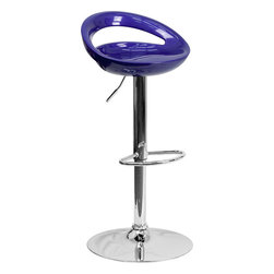 Flash Furniture - Flash Furniture Contemporary Blue Plastic Adjustable Height Bar Stool - This bar stool will add a fun, modern feel to your kitchen bar or counter. A gentle curve in the smooth seat creates sleek comfort. The dual purpose design performs as a counter height stool or a bar height stool. The height adjustable swivel seat adjusts from counter to bar height with the handle located below the seat. [CH-TC3-1062-BL-GG]