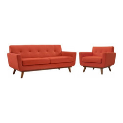Modway Imports - Modway EEI-1346-ATO Engage Armchair and Loveseat Set of 2 In Atomic Red - Modway EEI-1346-ATO Engage Armchair and Loveseat Set of 2 In Atomic Red