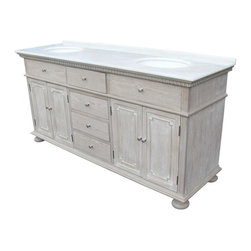 "EuroLux Home - New 72"" Double Sink Chest White/Cream Marble - Product Details"