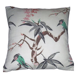 "Mid Century Home USA - Mid Century Modern Tropical Pillow Cover - Barkcloth Vintage Birds (1950's) - This 1950's barkcloth is nicely textured and has a very whimsical design.  The birds are turquoise and pink set on an off-white background.  The back is finished in a matching ribbed soft turquoise.  Colors are vibrant. The seams are professionally serged to prevent fraying.  The pillow insert is not included.  The pillow is 19"" X 19"", use a ""20"" insert to ensure a very plump pillow. Limited quantity."