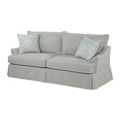 Chelsea Home - Olivia Queen Sleeper Sofa - Includes toss pillows. Legget and plat sleeper unit with 5 in. innerspring sleeper mattress. Welt Newport flour pattern. Medium seating comfort. 0.88 in. engineered hardwoods cut on a C and C router frames. Frame joints are interlocked and glued for strength and durability. Corners are block reinforced to provide extra stability for longevity. Reversible seat cushions. Zippered pillows. Cushions rest on top of the sleeper mechanism. Seat cushion is 1.8 high resiliency foam core surround by luxurious fiber for softness and wrapped in a down proof ticking cover. Newport oatmeal with welt Newport flour 70% cotton, 15% acrylic, 15% poly sofa fabric. Pergola ice 100% linen throw pillows fabric. Made in USA. No assembly required. Seat: 21 in. L x 23 in. W x 20 in. H. Overall: 88 in. L x 38 in. W x 37 in. H (245 lbs.)Our beautiful slip cover collection is specially crafted with you in mind. Our unique slipcover system allows you to change your cover whenever you want. Whether it be a little dirty, a new season, or you are just bored with your current look, we have you covered.