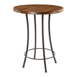 "Bistro Bar Table (36in. Tall) by Stone County Ironworks - Base Dimensions: 28""L x 28""W x 36""H."