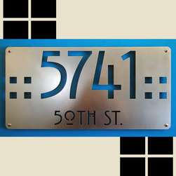Address Plaques - Arts and Craft Style / Mission Style hand-buffed stainless address sign