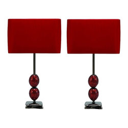 Aspire - Lucas Modern Table Lamp - Set of 2. This fabulous modern table lamp set features a metal base decorated by two orbs covered in red mosaic tiles. A complimenting red rectangular shade completes each lamp. Add a shot of red to your decor with this modern table lamp set!. Metal. Color/Finish: Red. UL listed. Uses 60 watt max bulb. 24 in. H x 14.5 in. W x 7 in. D. Shade: 9.5 in. H x 14.5 in. W x 7 in. D. Weight: 11 lbs.