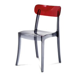Domitalia - New Retro Stacking Chair, Transparent Red - Stacking chair