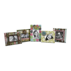 Imax - iMax Carter Photo Frames - Set of 5 X-5-43027 - Mixed patterns and metal flower accents make this set of five various sized frames great for displaying all your favorite photos!