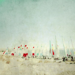 "hobie cats beached - ""colorful and painterly photograph of a hobie cat sailboat race beginning with a serene landscape background...dreamlike quality.  each signed and numbered.  printed on matte fine art photo rag with archival inks.  Image is 12 x 12 and would look great in a 20 x 20 frame with 4"""" matting.  """