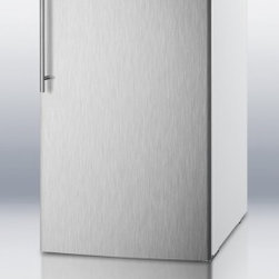 """Summit - FF511LBISSHV 20"""" 4.1 cu.ft. Capacity Built-in Capable Undercounter Compact Refri - SUMMIT brings quality cooling to 20 spaces with FF511LBI Series of built-in undercounter all-refrigerators with full auto defrost The FF511LBISSHV features a full 41 cuft capacity It has a white cabinet and 304 grade stainless steel wrapped door comp..."""