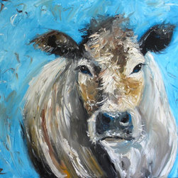 """Hand Painted Oil Painting Cow Face - Beautiful big cow face painting artist signed. """"Roz"""" on box canvas no need to frame"""