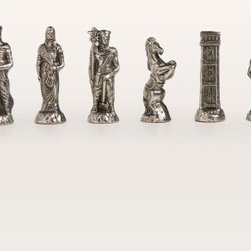 Hannibal Roman Chess Pieces - With a natural and elegant look the Hannibal Roman set is perfect for a seasoned chess player. These historic pieces are the same as the painted Hannibal Roman set only they are unpainted. Finished in brass and silver colors these old world pieces boast intricate details and unique appeal. Made in Italy. About Cambor GamesNew Jersey-based Cambor Games has spent the last 40 years developing product lines to address a variety of classic gaming needs. The company offers chess sets backgammon boards poker equipment dominoes mahjong tiles and more. From traditional designs to novelty themed items value-priced beginner sets to high-end collectors' dreams Cambor Games has the game equipment you need to have years of fun with close friends or bitter rivals.
