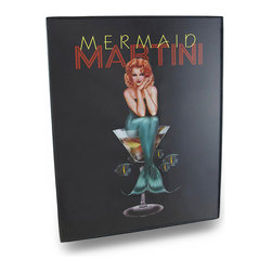 Zeckos - Pin-Up Style Mermaid Martini Framed Wall Art Hanging 8 x 10 in. - Perfect for a beach house, bar or entertainment room, this 'Mermaid Martini' wall hanging is framed and ready to mount to your wall using the keyhole hanger on the back It's made from sturdy hard plastic, with a clear overlay to protect the printed image, and measures 8x10 inches (20x25 cm). It features a pin-up style image of a mermaid poised in a martini glass with fish floating about on a black background. It makes a wonderful gift for a martini or mermaid fancier sure to be admired