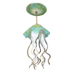 "Prim Glass - Blown Glass Chandelier - Art Glass Chandelier - Lighting - Jellyfish Light - Beautiful one of a kind blown glass turquoise, white & sea green jellyfish pendant light handcrafted in the USA by Primo Glass. This is a custom one of a kind "" to be built "" jellyfish light that will have slight differences from the jellyfish light shown in the listing photos, and has a lead time of aprox 3 weeks. The lighting source consists of 1 standard medium base ( 100 watt max ) light socket in the center of the Jellyfish head. It will be shipped with a 60 watt dimmable LED light bulb that will last for 20k hours or longer. All electrical components are UL listed. It also comes complete with a custom made matching glass ceiling medallion. The glass jellyfish itself measures aprox 12 inches wide x 19 inches tall, and also includes an additional 36 inches of adjustable chain. Primo Glass fixtures are high quality collectible works of functional art, signed by the artists, and come with a certificate of authenticity."