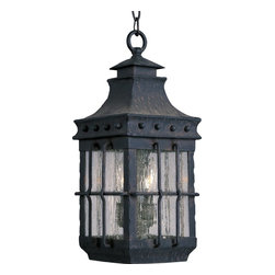 Maxim Lighting - Maxim Lighting Nantucket Forged Iron Traditional Outdoor Pendant Light - A quaint and rustic outdoor traditional pendant light, Maxim Lighting brings to you the Nantucket. Crafted out of forged iron, this pendant light is a traditional, early America styled fixture. The iron features Seedy glass and is finished in Country Forge. Be sure to add this coastal fixture to your outdoor collection!