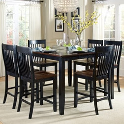 AHB Ellington 7-Piece Counter Height Dining Table Set - With six counter chairs included and a butterfly leaf to provide extra space, the AHB Ellington 7-Piece Counter Height Dining Table Set makes a beautiful spot to share dinner with family and friends. Built from select hardwood solids, this lovely dining set has an elegant two-tone Navajo and black finish.American Heritage BilliardsBefore founding American Heritage Billiards back in 1987, the owners were building pool tables in high school, learning the industry from the ground up. Today their 170,000 sq.-ft.-facility, centrally located in Cleveland, Ohio, is the largest billiards manufacturer in the world, the leader in design, selection, service and value. Each item of entertainment furniture is meticulously designed and engineered to withstand the test of time, utilizing old-fashioned wood joinery methods. The vast majority of our metal products have welded joints to provide a lifetime of carefree service.