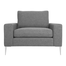 Bryght - Gray Modern Metal Leg Armchair | Nova Modern Furniture - The Nova collection characterizes a Danish design that elegantly unifies modern minimalist lines with functionality. Upholstered to perfection in a classic basket weave fabric that brings forth elements of harmony and affinity to your space.