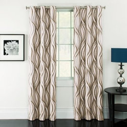 Window Accents Celestina Wave Jacquard Grommet Panel Pair - Modern and stylish, the Window Accents Celestina Wave Jacquard Grommet Panel Pair frame your windows perfectly. This set includes two curtain panels with intersecting waves of color. Radiant in any room. These wide drapes can lower home heating and cooling costs by up to 25%! They also block out 99% of outside light and 40% of outside noise so are ideal for your urban loft space. All this, yet they still maintain the natural shape and softness of regular curtain panels and are machine-washable. Talk about convenient. They feature a modern grommet design to hang easily from a decorative rod and present a streamlined look.About Arlee Home FashionsArlee Home Fashions, Inc. manufactures and markets household textiles like decorative pillows, chair pads, floor cushions, curtains, table linens, and pet beds. The company was incorporated in 1976 and is based in New York, New York.