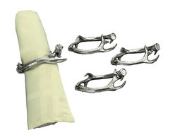 Arthur Court - Antler Napkin Rings, Set of 4 - Artistically dress your table with these contemporary napkin holders.