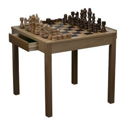Beech Wood Chess/Checkers Table with Oversized Pieces - This large chess/checkers table features oversized pieces for more fun and a novel feel. The large pieces will get the children excited about thinking tactically and put those young noggins to good use. The 7-inch king looms large over this well-crafted Beech wood table. About CHH GamesWhether you're a seasoned chess pro or just an occasional dabbler in table games CHH Games has your number. CHH has been manufacturing and distributing everything from Mahjong to roulette for years making it a go-to source for compact travel budget and premium-quality game sets. And if standard chess pieces and the like aren't exciting enough for you CHH games has scores of specialty figures from which to choose. Anything to delight the senses and the mind.