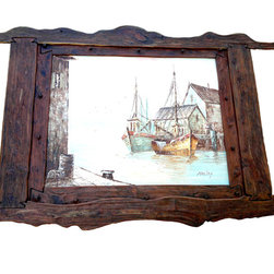 """Bezaleel Orthodox Workshop - Artwork """"Old window from the Riga tavern"""" - Hand painted picture with hand carved cedar frame."""