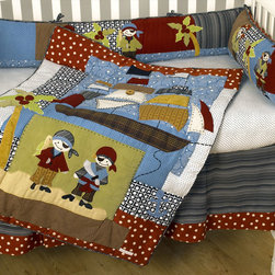Cotton Tale Designs - Pirates Cove 4Pc Crib Bedding Set - A quality baby bedding set is essential in making your nursery warm and inviting for your newborn. All Cotton Tale patterns are made using quality materials and are uniquely designed to create your perfect nursery. The Pirates Cove four piece bedding set is a unique blend of prints and appliqued pirates. This crew of pirates are a fun loving, swashbuckling lot and can be found on the quilt and the 4 piece sectioned bumper. The sheet is 100% cotton black and white print and the dust ruffle is a black and white stripe trimmed in red polka-dot.