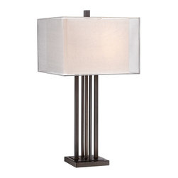 "Possini Euro Design - Possini Euro Trevor Bronze Double Shade Table Lamp - Complement your modern home style with this contemporary table lamp. The linear design features a rich bronze finish with five slender columns and a double layer rectangular shade sits on top for a sleek cutting edge design. From the Possini Euro Design Lighting Collection. Metal construction. Bronze finish. Double layer shade. In-line switch. Takes two 75 watt medium base bulbs (not included). 31"" high. Inner shade is 13"" wide 10 1/2"" high. Outer shade is 16"" wide 11"" high.  Metal construction.   Bronze finish.   Double layer shade.   In-line switch.   Takes two 75 watt medium base bulbs (not included).   31"" high.   Inner shade is 13"" wide 10 1/2"" high.   Outer shade is 16"" wide 11"" high.  7"" square base."