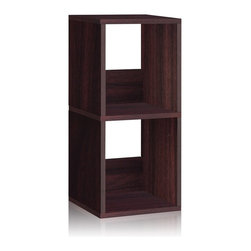Way Basics - Way Basics Eco 2 Shelf Duo Narrow Bookcase, Espresso - Let your imagination run wild with this simplistic, modern, Duo Narrow Shelf that will complement and organize any space in your home! A unique tool free assembly & endless possibilities make it an essential piece for the home.