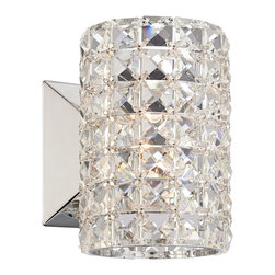 """Vienna Full Spectrum - Contemporary Vienna Full Spectrum Crystal Cylinder 6 1/2"""" High Sconce - Brighten your bathroom walls and line your mirrors with this glitzy crystal sconce. A cylinder curtain of crystals wrapped around a single halogen bulb makes for a sparkling addition to your home. Chrome finish hardware completes the shining style. Chrome finish. Clear crystals. Includes one 60 watt G9 halogen bulb. 6 1/2"""" high. 4 1/2"""" wide.  Chrome finish.   Clear crystals.   Includes one 60 watt G9 halogen bulb.   6 1/2"""" high.  4 1/2"""" wide.  5 1/2"""" ext.   Back plate 4 1/2"""" high and 4 1/2"""" wide."""