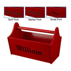 Personalized Toy Box Caddy in Red - This classic toy caddy makes clean up quick and easy. Your child will be drawn to this sleek design and easy grip handle, not to mention the firey red color and their own name on the side.
