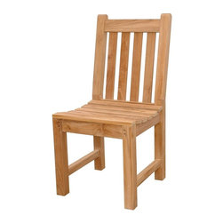 Anderson Teak - Classic Slat Back Dining Chair - Unfinished - Sink into this sturdy outdoor seat easily and delight as it easily combines with most exteriors.  Curved seat adds support while quality craftsmanship reinforces integrity.  View the remainder of this site to find additional complementary items for the outdoors, patios and porches.  Have a glass of peach nectar lemonade, enjoy those banana pecan walnut cookies and savor the delights of your Solid Teak Wood Dining Chair - Indoor/Outdoor, a beautiful piece reflective of real craftsmanship, simple, elegant design and a firm grasp that even the most unassuming of pleasures should be defined by exquisite luxury and style. * Slat back design. Teak wood construction. Minimal assembly required. Overall: 17 in. W x 18 in. D x 36 in. H (22 lbs.). Seat height: 18 in. This simple traditional style-dining chair will never go out of style, but quietly blends with any other design. The seat is very sturdy as well as the back. Place this chair in your backyard with the dining table, will amazed your family or friends.