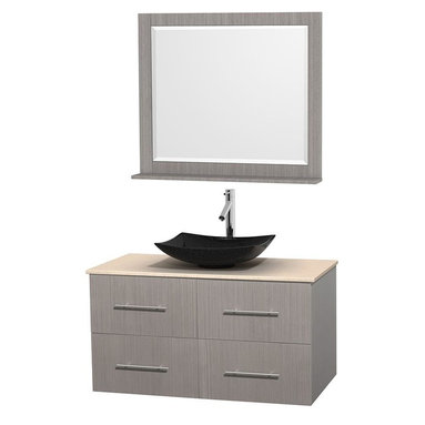 Wyndham Collection - 42 in. Single Bathroom Vanity in Gray Oak, Ivory Marble Countertop, Arista Black - Simplicity and elegance combine in the perfect lines of the Centra vanity by the Wyndham Collection . If cutting-edge contemporary design is your style then the Centra vanity is for you - modern, chic and built to last a lifetime. Available with green glass, pure white man-made stone, ivory marble or white carrera marble counters, with stunning vessel or undermount sink(s) and matching mirror(s). Featuring soft close door hinges, drawer glides, and meticulously finished with brushed chrome hardware. The attention to detail on this beautiful vanity is second to none.